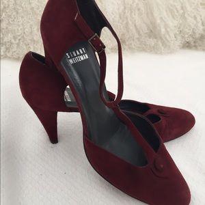 Stuart Weitzman burgundy suede shoes.